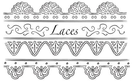 woodcut: set of laces doodle