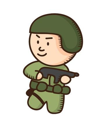 soldier holding gun Vector