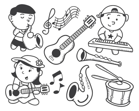 music instrument: children playing music doodle Illustration