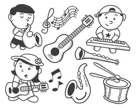 children playing music doodle Illustration