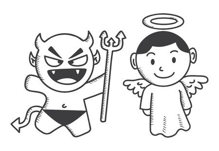 diablo y angel: diablo y �ngel de dibujos animados Vectores