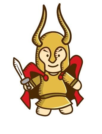 odin: viking warrior cartoon Illustration