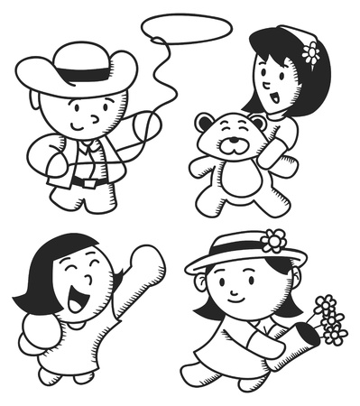 exited: cute children cartoon in various style