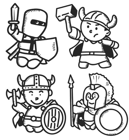 set of ancient warrior Vector