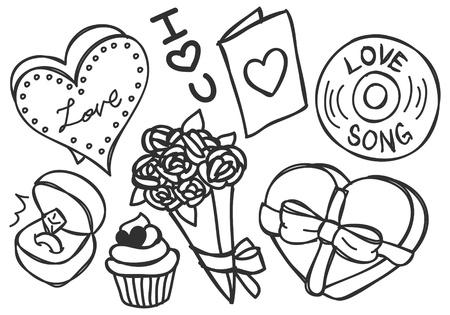 valentine doodle Ilustração