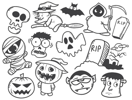 halloween cartoon: Halloween doodle Illustration