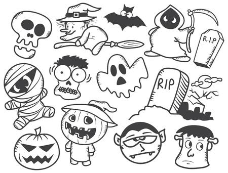 cartoon frankenstein: Halloween doodle Illustration