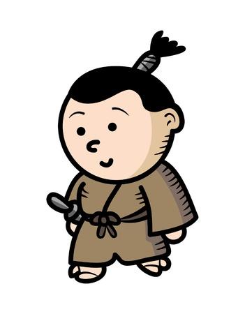 guerrero samurai: guerrero samurai de dibujos animados Vectores