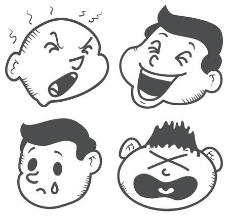 set of cartoon expression Vector