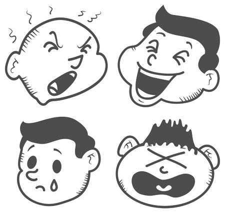 expressive style: set of cartoon expression Illustration