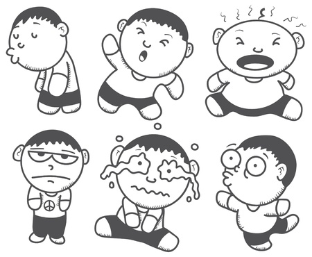 exited: cute boy with various expression Illustration