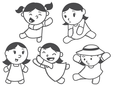 exited: cute girl with various expression