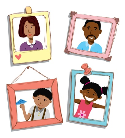 african american family portrait Vector