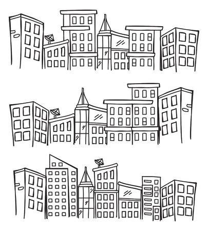 lijntekening: stadsgezicht doodle Stock Illustratie