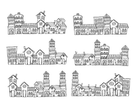 town hall: cityscape doodle
