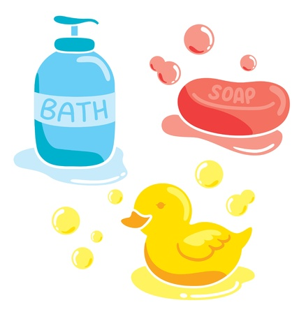 set of bathing stuff Vector
