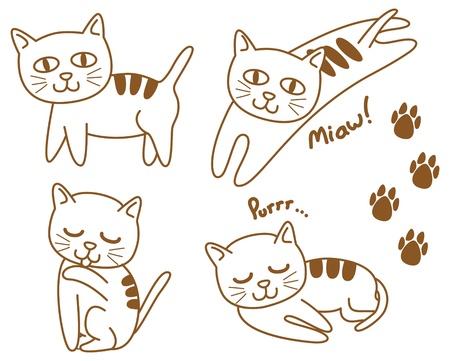 cat's eye glasses: set of cute cat Illustration