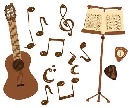 guitar and music note Vector