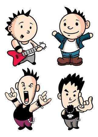bocetos de personas: punk rocker de dibujos animados conjunto Vectores