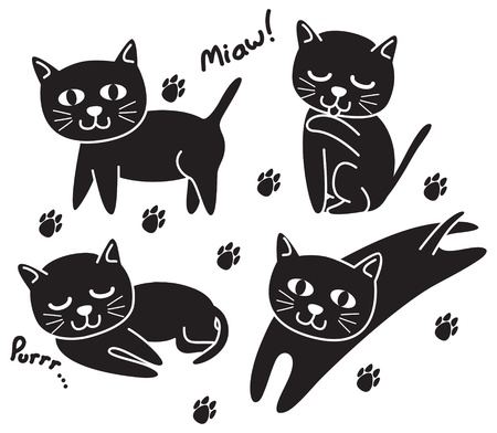 set of black cute cat Vector