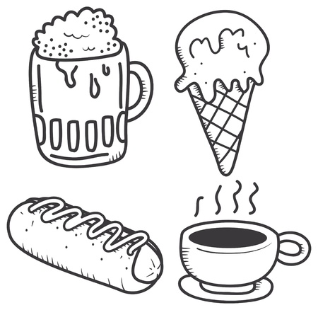 food and drink icon in doodle style Vector