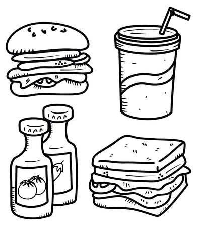 american food: food and drink icon in doodle style