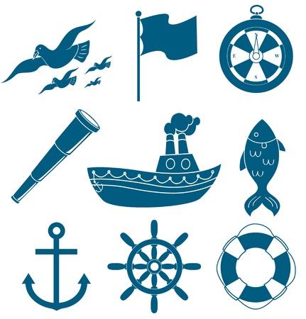 marine bird: conjunto de iconos n�utico Vectores