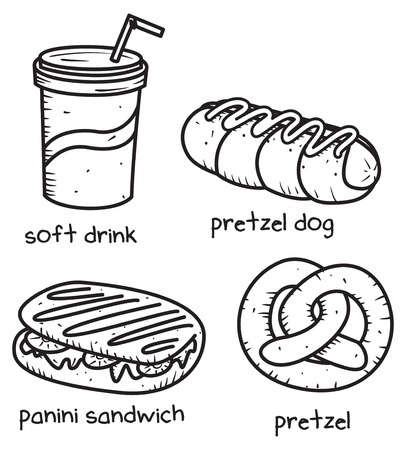 panini: food and drink icon in doodle style