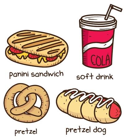 eten en drinken pictogram in doodle stijl