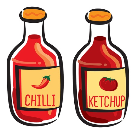 tomato and chili sauce Illustration
