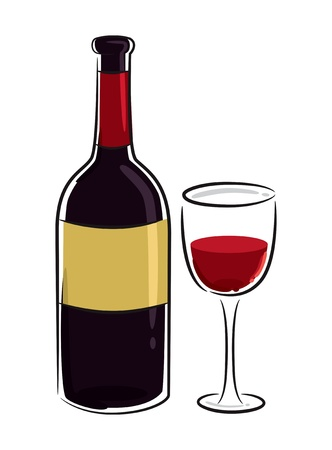 red wine bottle: vino