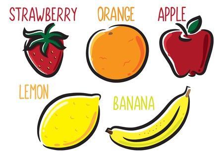 limon caricatura: Conjunto de frutas icono