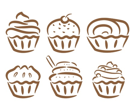 cupcake icon in doodle style Vector