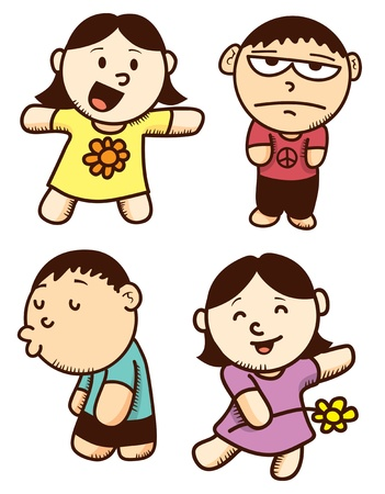set of cut children cartoon with various expression Vector