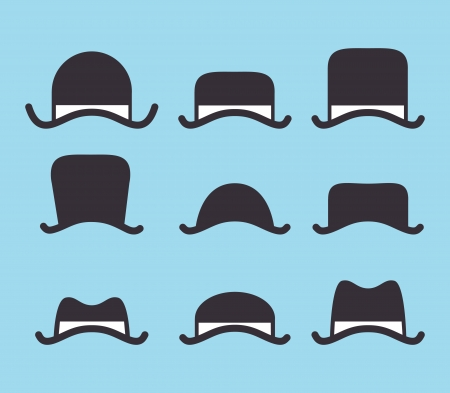 set of vintage classic hat icon Vector