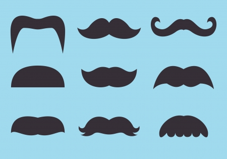 set of vintage mustache icon Illustration