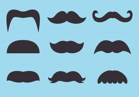 set of vintage mustache icon Illustration