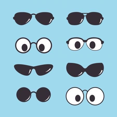 eye wear: set of vintage sunglasses icon Illustration