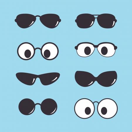 set of vintage sunglasses icon Illustration