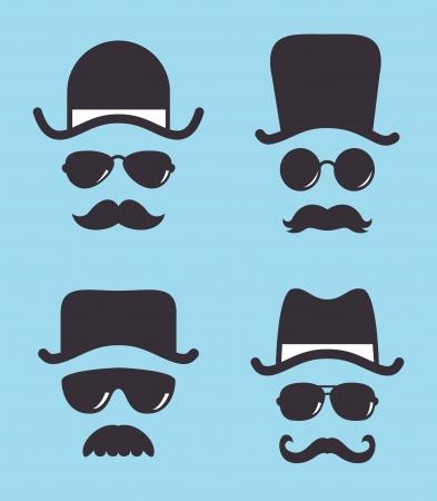 bigote: conjunto de gafas de sol del sombrero de época y el bigote Vectores