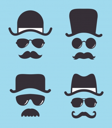 set of vintage hat sunglasses and mustache Illustration