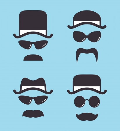 old business man: set of vintage hat sunglasses and mustache Illustration
