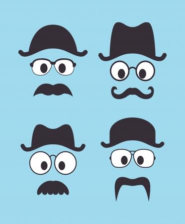 bowler hat: set of vintage hat sunglasses and mustache Illustration