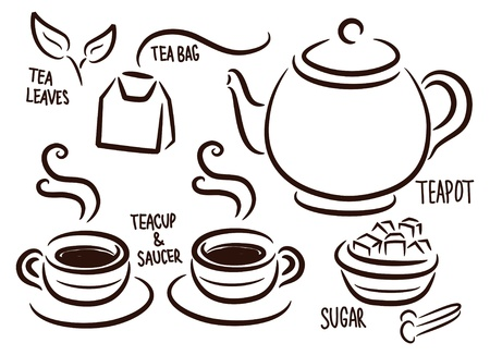set van tea time icoon in doodle stijl