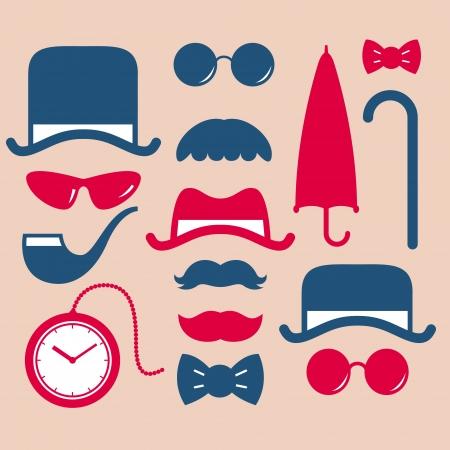 black tie: conjunto de icono de la moda vintage Vectores