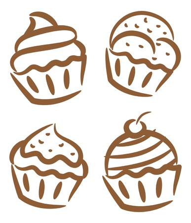 frozen yogurt: set of cupcake icon in doodle style