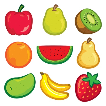 set of fruit icon Vector