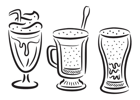 set of coffee with whipped cream  icon in doodle style Vector