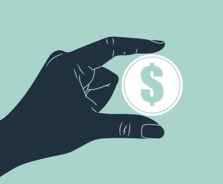 hand holding dollar coin Stock Vector - 17328274
