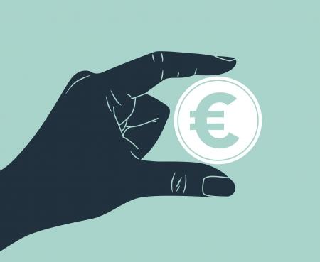 hand holding euro coin Vector